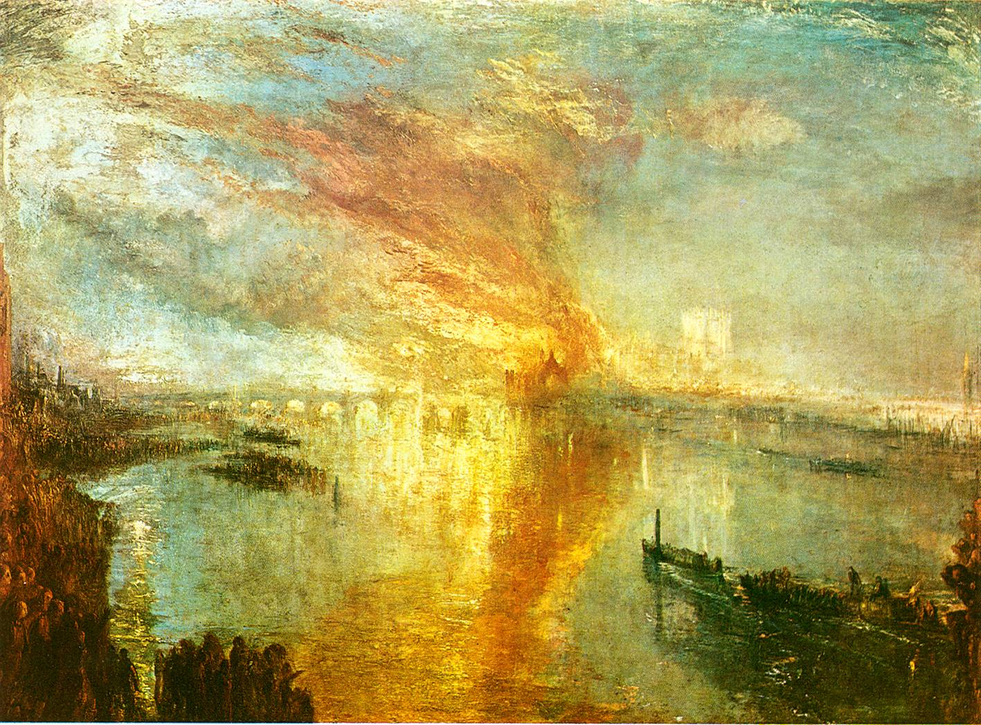 the burning of the parliament building The parliament is nearly swallowed by the raging fire, and only part of the outlines of the buildings can be seen turner mainly focused on the fire rather than buildings the fire and the reflection on water are shown in the middle of the painting.